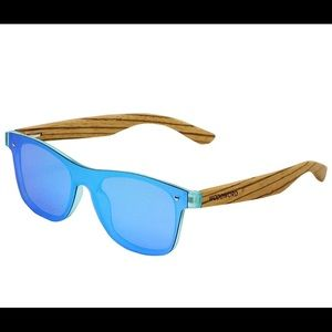 New Woodword Wood Polarized Sunglasses w/ blue